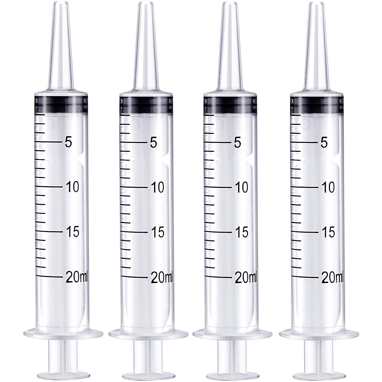 Frienda 4 Pack Large Plastic Syringe for Scientific Labs and Dispensing Multiple Uses Measuring Syringe Tools (20 ml)