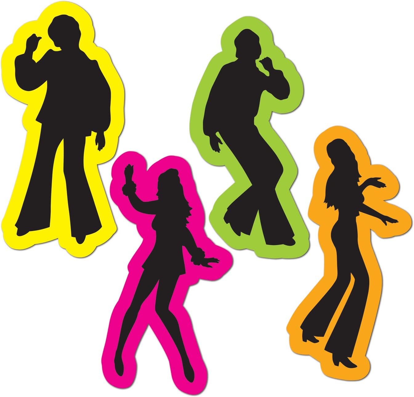 Retro 70's Silhouettes Party Accessory (1 count) (4/Pkg)
