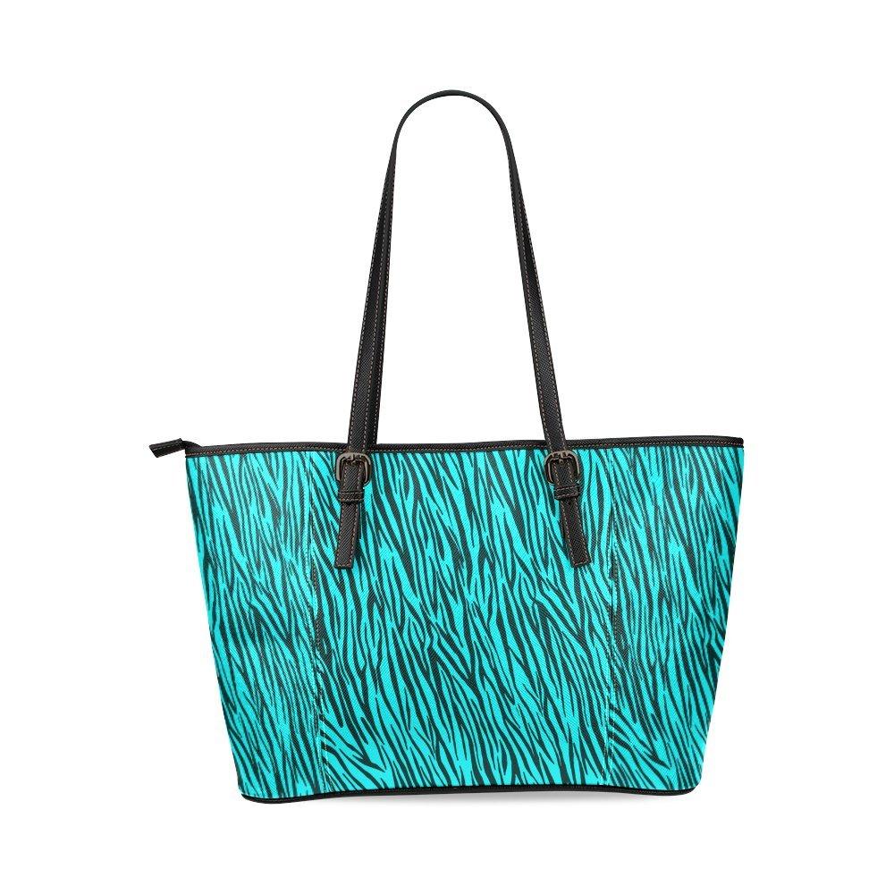 InterestPrint Turquoise Zebra Stripes Animal Print Fur Leather Tote Bag Large