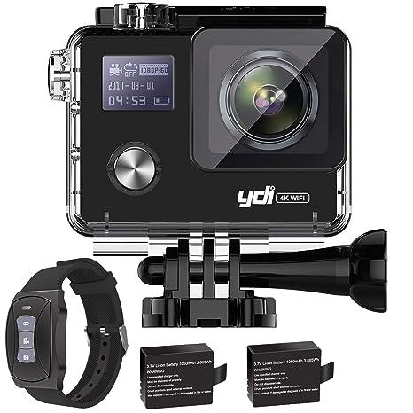 YDI G80 4K Cámara Deportiva Videocámara Acuatica WiFi 20MP Ultra HD Gyro Anti Vibración Cámara de Acción Sumergible hasta 30M con Control Remoto, 2 * ...