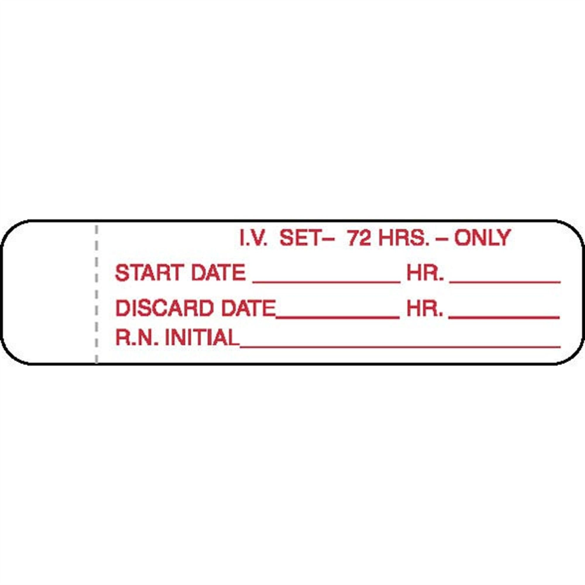 I.V. Tubing Labels 72 Hrs