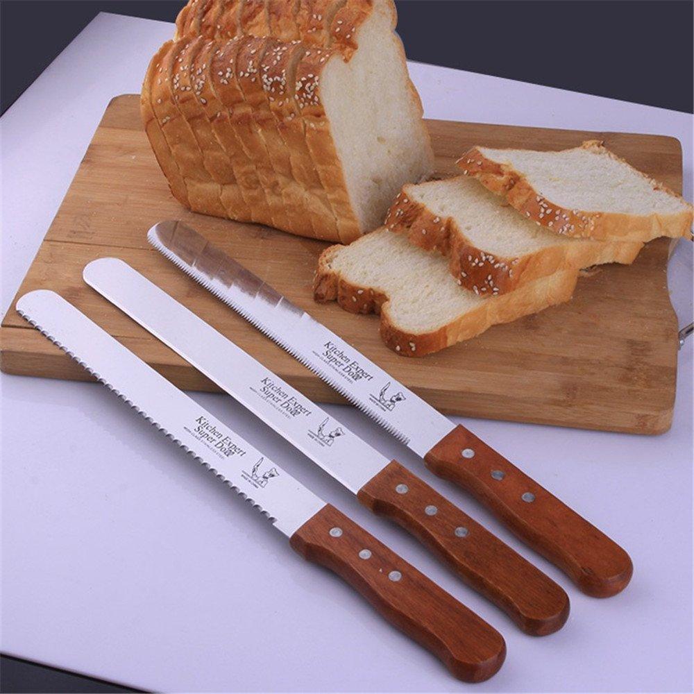 ZHU YU CHUN Professional 10'' Blade Serrated Cake Slicing/Bread Slicer Knife with Wooden Handle (Pack of 3) by ZHU YU CHUN (Image #3)