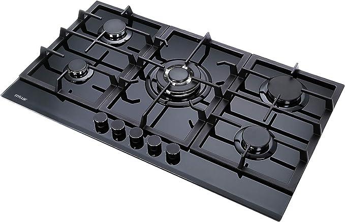 Millar GH9051TB - Placa de cocción de cristal templado con 5 quemadores de gas, 90 cm, color negro: Amazon.es: Grandes electrodomésticos