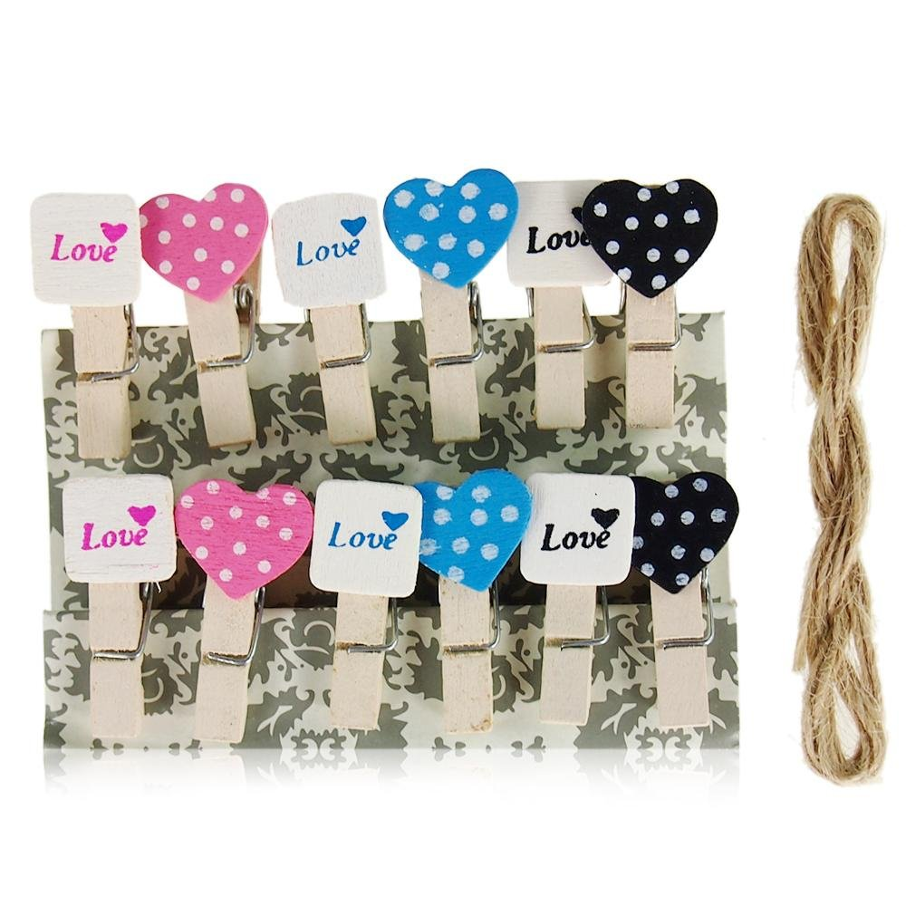LAAT 10Pcs Lovely Photo Clip Mini Wooden Heart Pegs Pin Clothespin Craft Clips Photography Storege Message Photo Holder Card Paper Pegs with Jute Line Home Decoration-Random Color