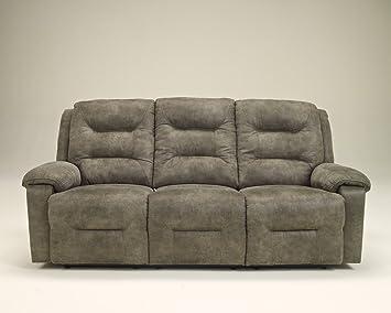 Ashley Furniture Signature Design   Rotation Recliner Sofa   Manual  Reclining Couch   Smoke Gray