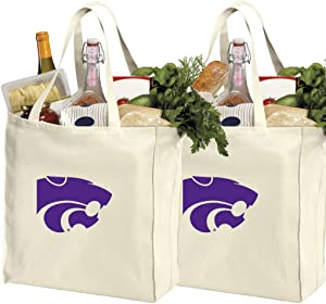 Reusable Kansas State Shopping Bags or K-State Grocery Bag 2Pc Set Natural Cotton