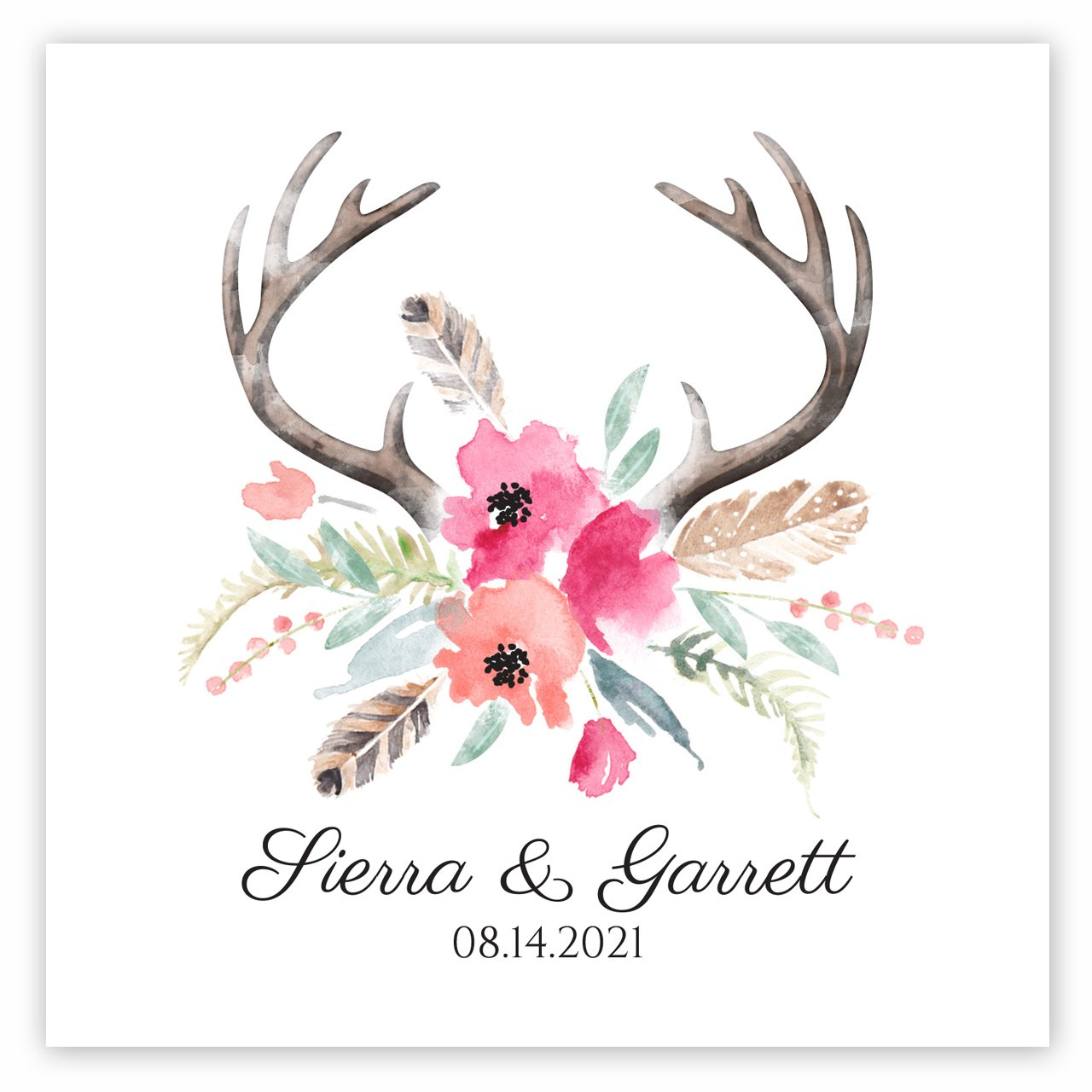 Blooming Antlers Personalized Beverage Cocktail Napkins - 100 Custom Printed Paper Napkins
