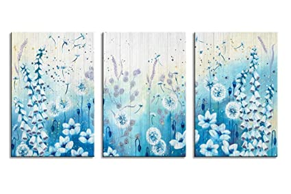 Amazon.com: Blue Flowers Wall Art Decor Modern Abstract Floral ...