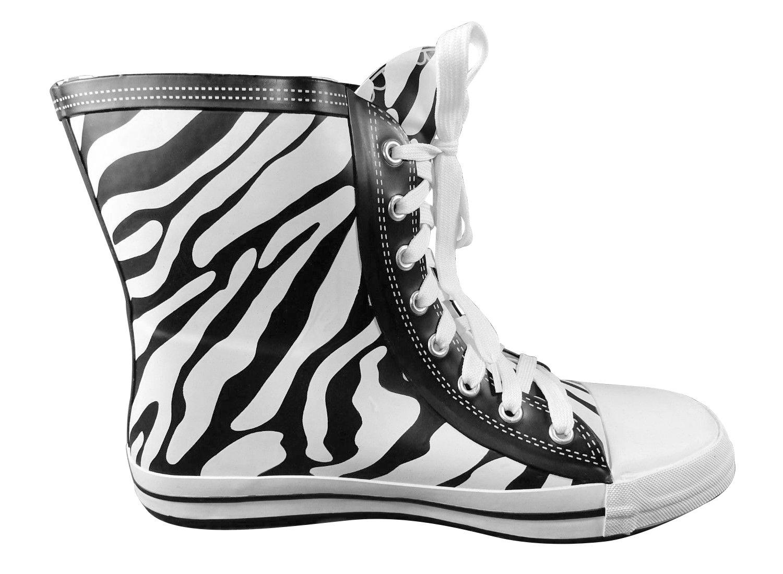 Zebra Stripes Rubber Lace-up Boots - Elvetik Swiss Design, 7 B(M) US - #CB0044