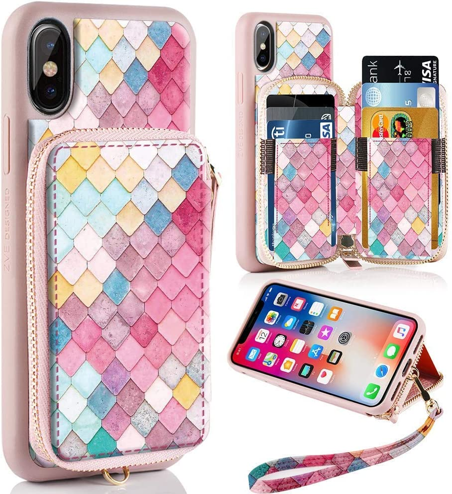 ZVE Case for Apple iPhone Xs and iPhone X, 5.8 inch, Zipper Wallet Case Leather Shockproof Cover with Credit Card Holder Slot Handbag Purse Print Case for Apple iPhone Xs and X - Mermaid Wall