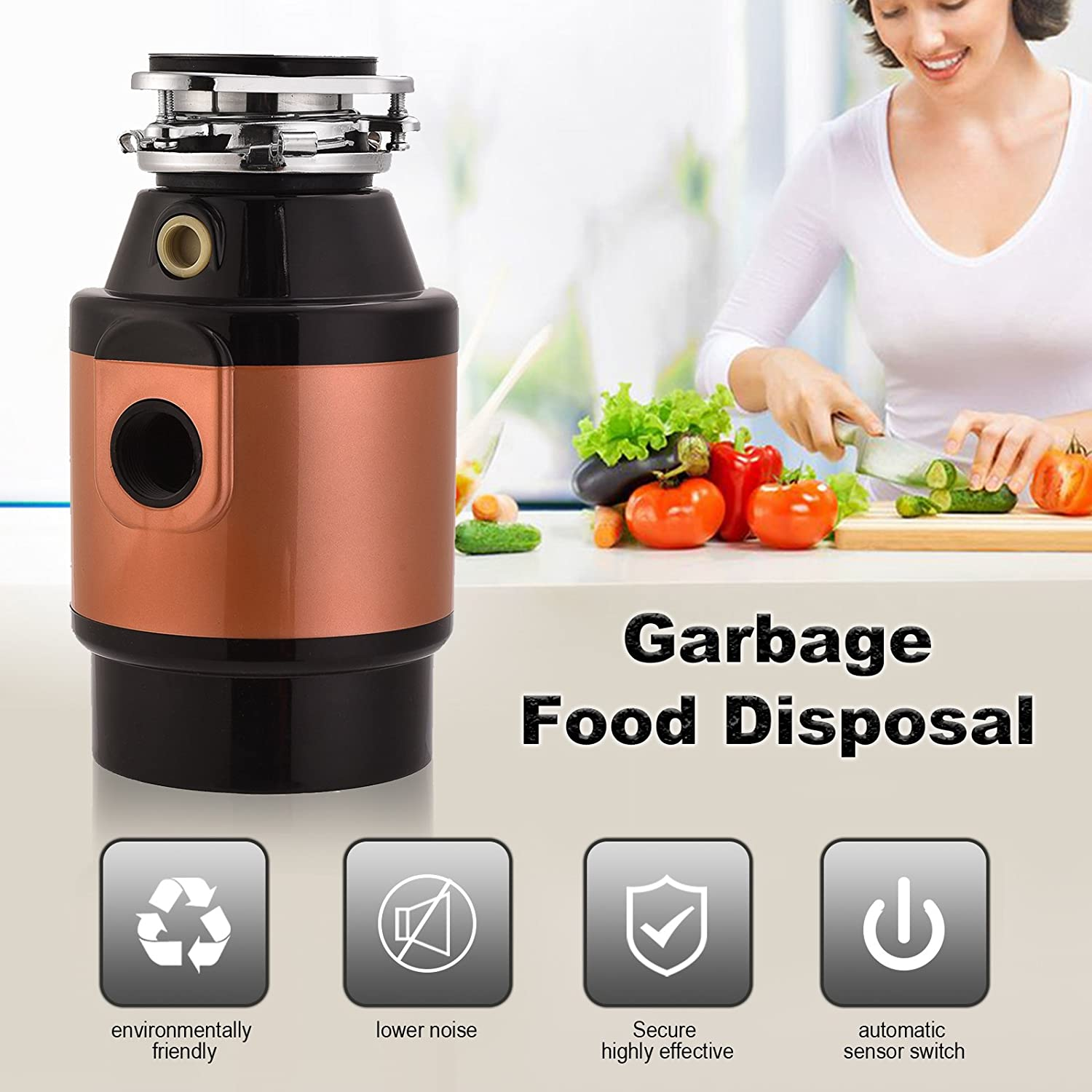 Suncoo 15 Hp Garbage Disposal Continuous Feed For Home Decorator Switch Kitchen Waste W Plug 3600rmp Champagneblack Improvement