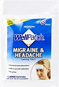 WellPatch Cooling Headache Pads, Migraine, 4 Large Patches- 4.3 x 2 Inch (Pack of 6)