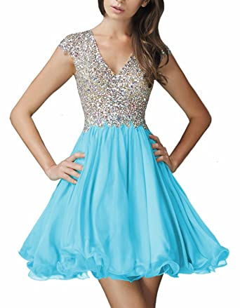 DarlingU Womens Beaded V-Neck Homecoming Dresses Short Sleeves Short Prom Gowns Blue 2