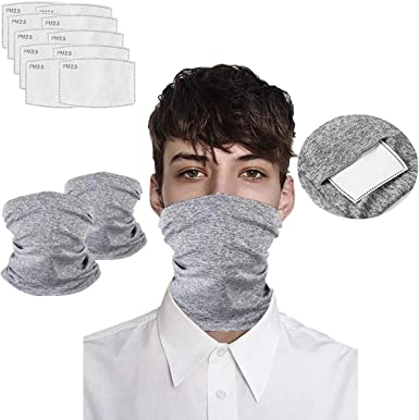 Multi-purpose Face Headbands For Men Women Face Scarf Bandanas Neck Gaiter with Safety Carbon Filters