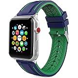 Apple Watch バンド - ATiC Apple Watch 42mm series 1/2/3用 クラックタイプ ソフト 高級 シリコーン製腕時計ストラップ/バンド 交換ベルト+バンドアダプター/交換ラグ Midnight Blue+Green (Apple Watch 38mmに適応できない)