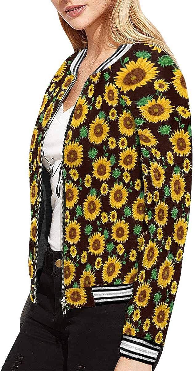 INTERESTPRINT Womens Cute Yellow Sunflowers Baseball Jacket Coat