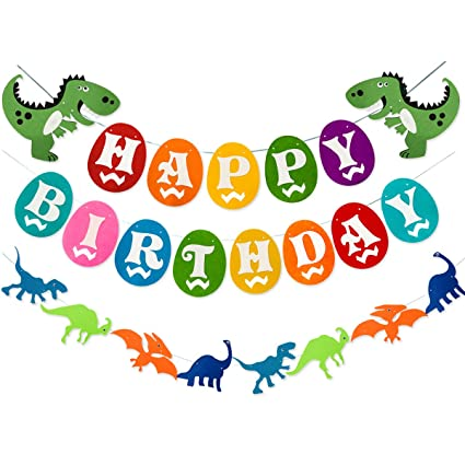 birthday dinosaur Amazon.com: Dinosaur Happy Birthday Banner, Colorful Felt Garland  birthday dinosaur