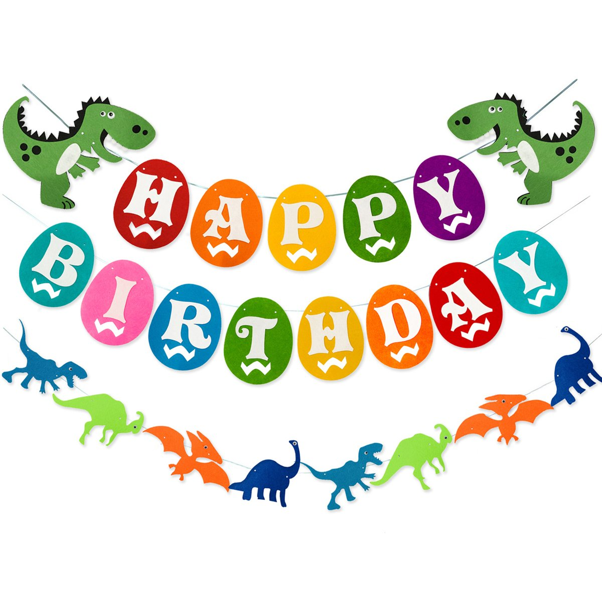 Dinosaur Happy Birthday Banner, Colorful Felt Garland Flag for Dino Jungle Jurassic First Birthday Dinosaur Party Supplies Decorations by Haptda
