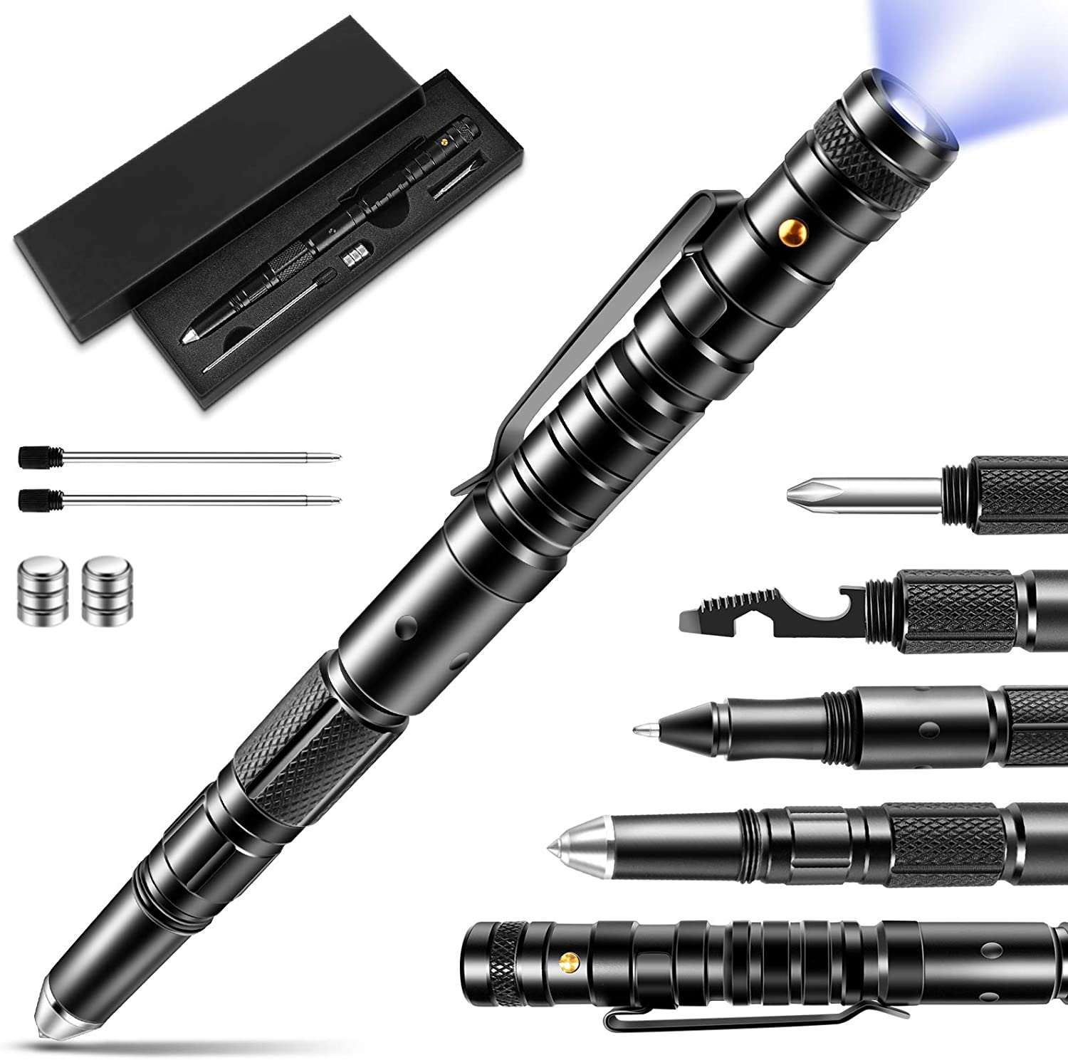 Tactical Pen Gift For Men Gadgets For Men Multitool With Led Flashlight For Women Men Cool Unique Birthday Christmas Gifts Ideas For Him Husband Dad Grandpa With Black Gift Box