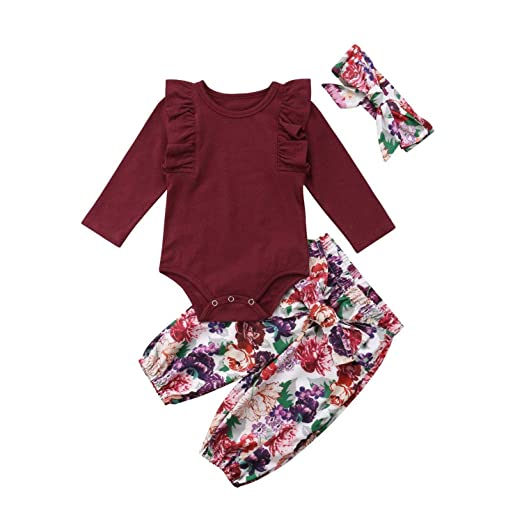 09478f568fa9 Newborn Toddler Baby Girl Ruffle Romper Bodysuit Jumpsuit Floral Halen Pants  Outfit 3PCS Clothes Set 0