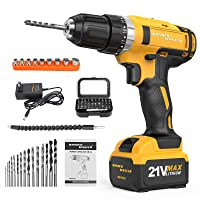 Cordless Drill Driver 21V MAX, WONDER MASTER Professional Brushless Electric Drill Kit 29Nm Torque Variable Speed,Built-in LED & Reverse Control Power Drill with 56 Pcs Accessories
