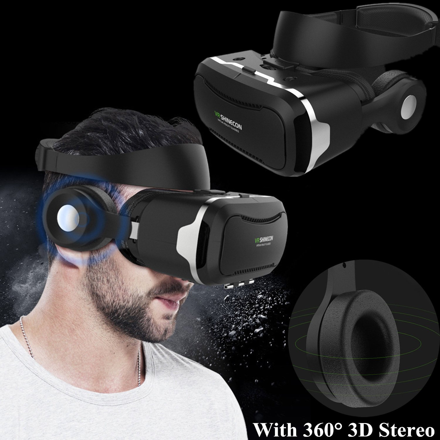 3D Virtual Reality Headset, Tsanglight VR Headset/Glasses with Built-in 3D Headphones for 4.5-6.0'' Android/iOS for Samsung Galaxy S7 Edge S6, iPhone 7 6 6S Plus etc by TSANGLIGHT