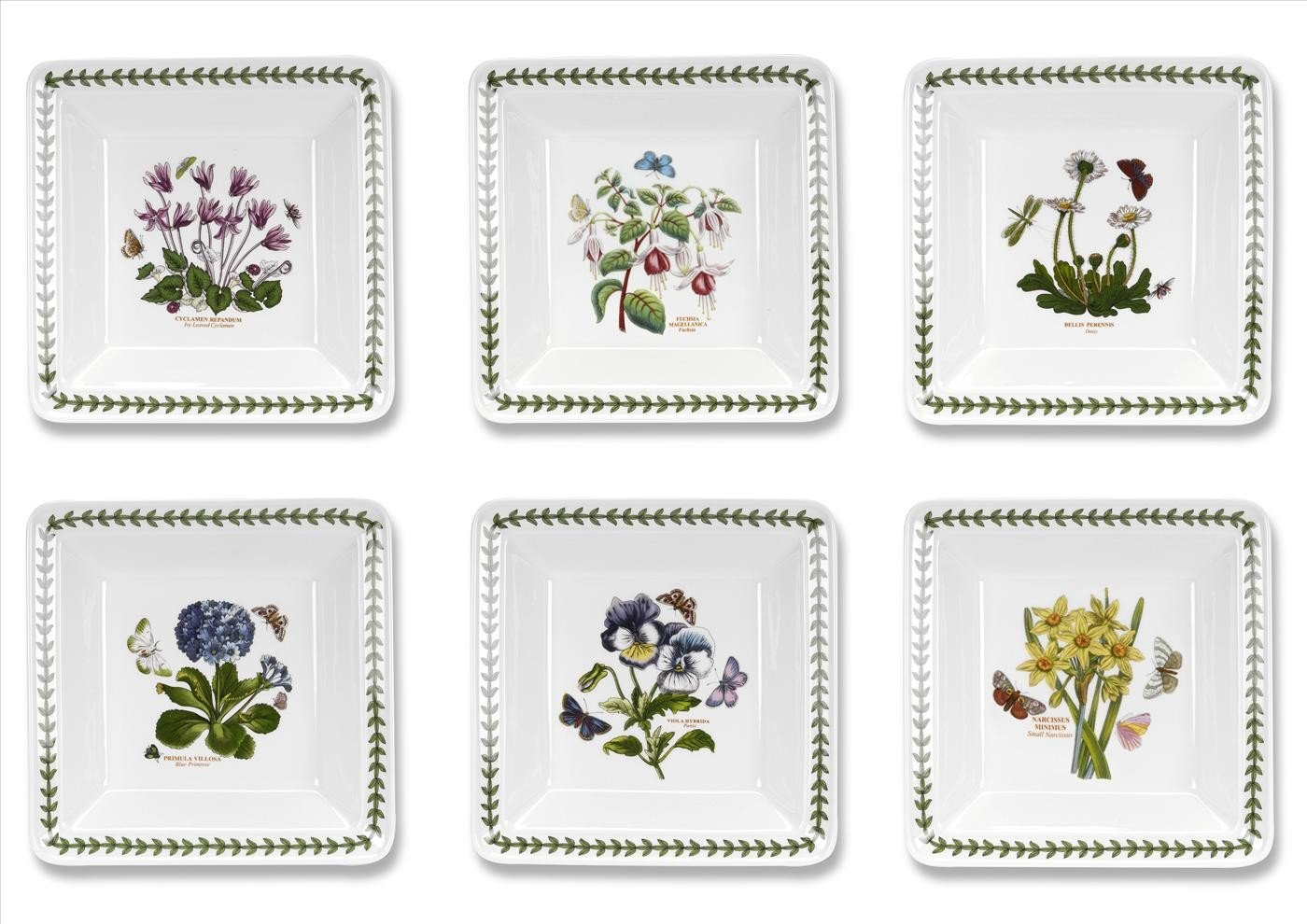 Portmeirion Botanic Garden Set of 6 Square Bowls (Assorted Motifs) 6.5''