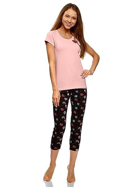 oodji Ultra Mujer Pijama de Algodón con Pantalones Piratas Estampados, Rosa, ES 38 /