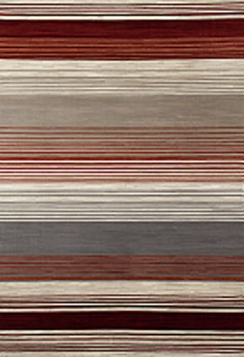 Art Carpet Bastille Collection Heathered Stripe Border Woven Area Rug, 9 x 12 , Red Beige Gray