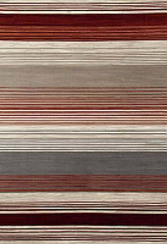 Art Carpet Bastille Collection Heathered Stripe Border Woven Area Rug, 4 x 6 , Red Beige Gray