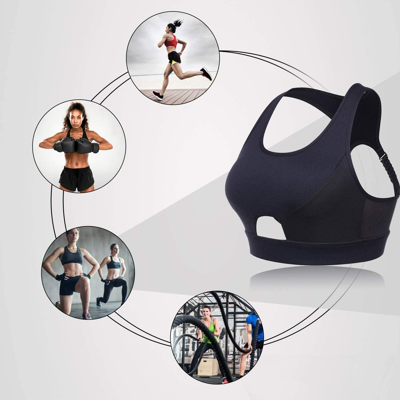 FeelinGirl Women Racerback Sports Bras High Impact Workout Gym Activewear Bra