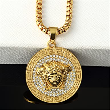 a75381b67f14 Versace Medusa Sided Pendentif long collier de style (or, 10 ...