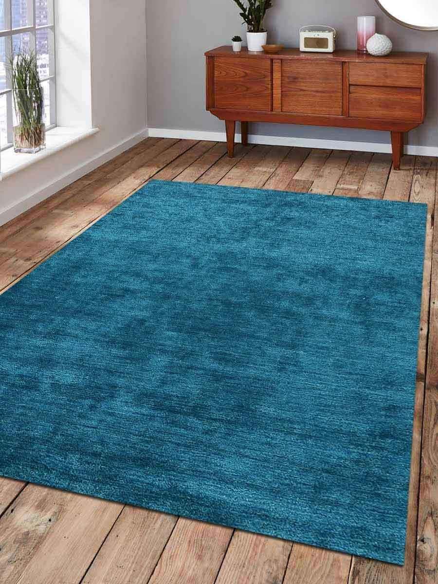 Rugsotic Carpets 手結びガベシルク 3フィートx5フィート エリアラグ 無地 ライトブルー LS0111 8' x 11' ブルー LS0111L00X03A16 8' x 11'  B07JG9BTHF