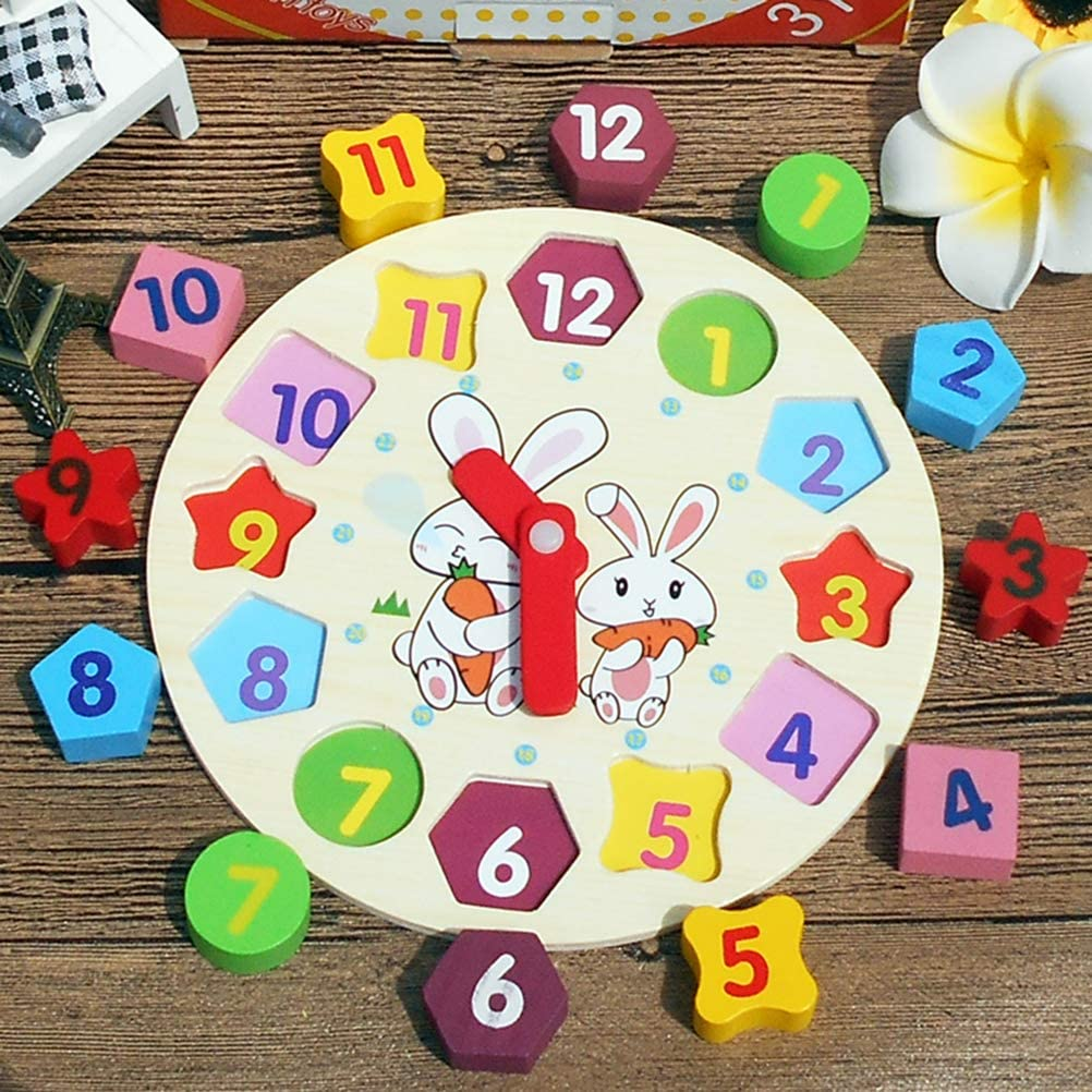 Toyvian Numbers Matching Clock Colorful Rabbit Pattern Wooden Building Blocks Assembly Educational Toys for Kids