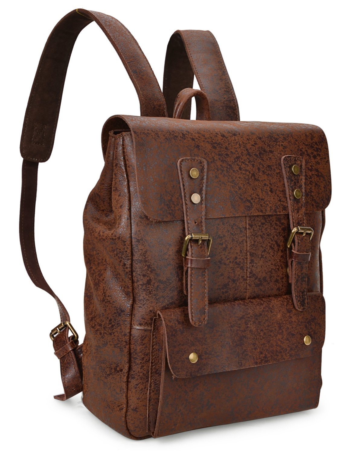 ALTOSY Vintage Genuine Leather Backpack College School Bookbag Travel Rucksack 8175 (coffee) by ALTOSY (Image #2)