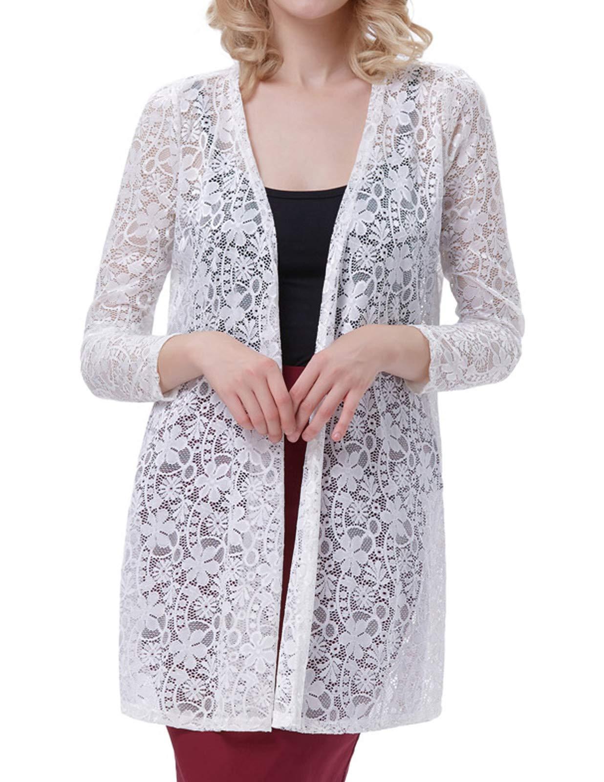 Galleon - Fancy Ladies Long Lace Drape Cardigan Jacket (S White 421-2) ff5202c8c