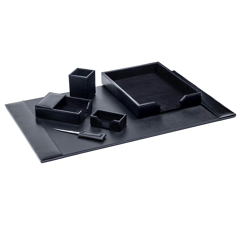 Dacasso Black Bonded Leather 6-Piece Desk Set