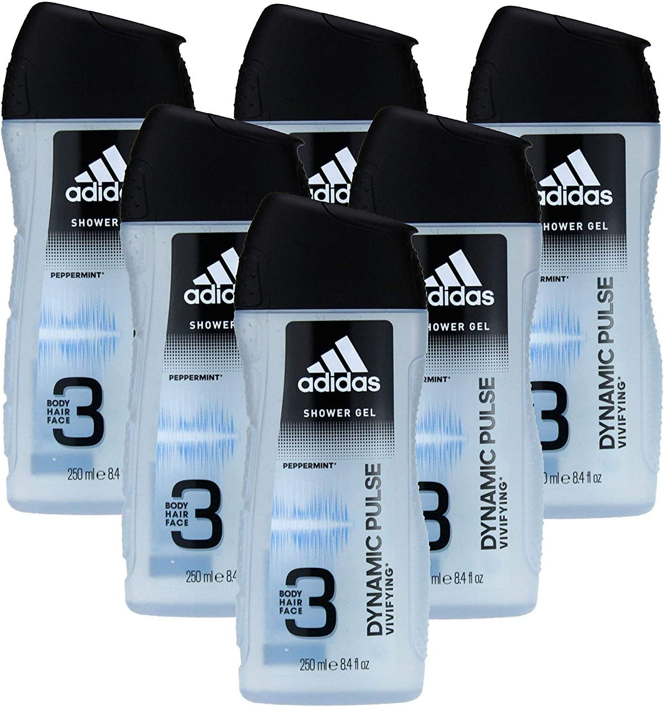 adidas Dynamic Pulse 3 in1 Gel de Ducha 250 ml Men, 6 unidades