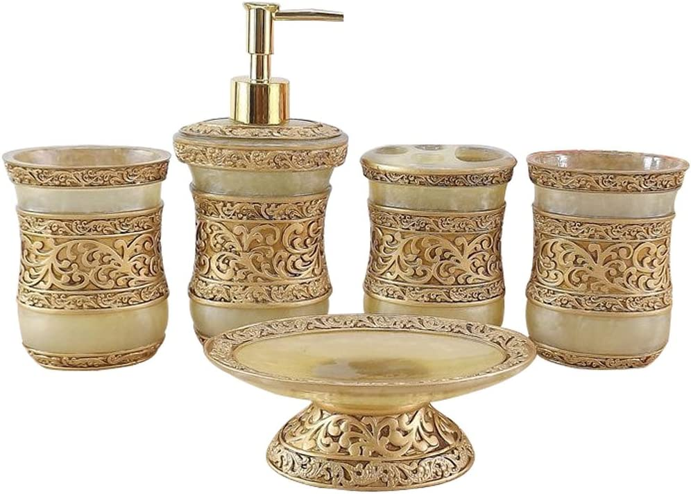 Amazon Com Luant Resin 5pc Bathroom Accessories Set Soap Dispenser Toothbrush Holder Tumbler Soap Dish Home Kitchen