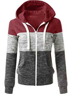 71e60738d24a Womens Long Sleeve Zip Up Hoodie Top Color Block Basic Casual Hooded  Sweatshirt