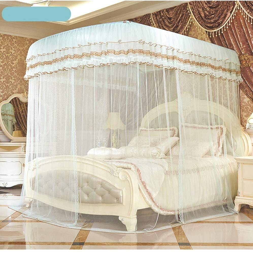 ベッドルームダブルベッド蚊帳引き込み式のU字型ガイドプリンセス蚊帳スペースアルミブラケットコートスタイル蚊帳抗蚊に刺され1.52.0メートルのベッドに適して (サイズ さいず : 1.8m) 1.8m  B07QFMNH38