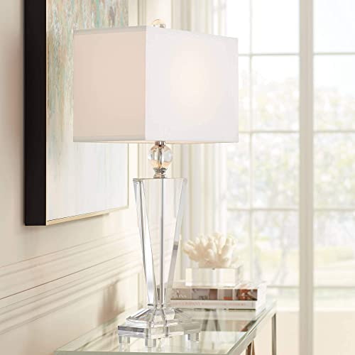 Modern Contemporary Art Deco Table Lamp Clear Crystal Trophy Off White Rectangular Shade