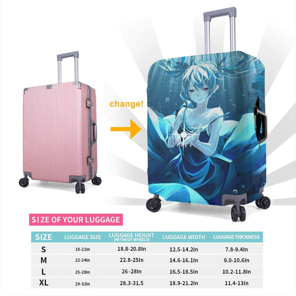 Travel Luggage Cover Vocaloid Hatsune Miku Ocean Travel Luggage Cover Suitcase Protector Fits 26-28 Inch Washable Baggage Covers