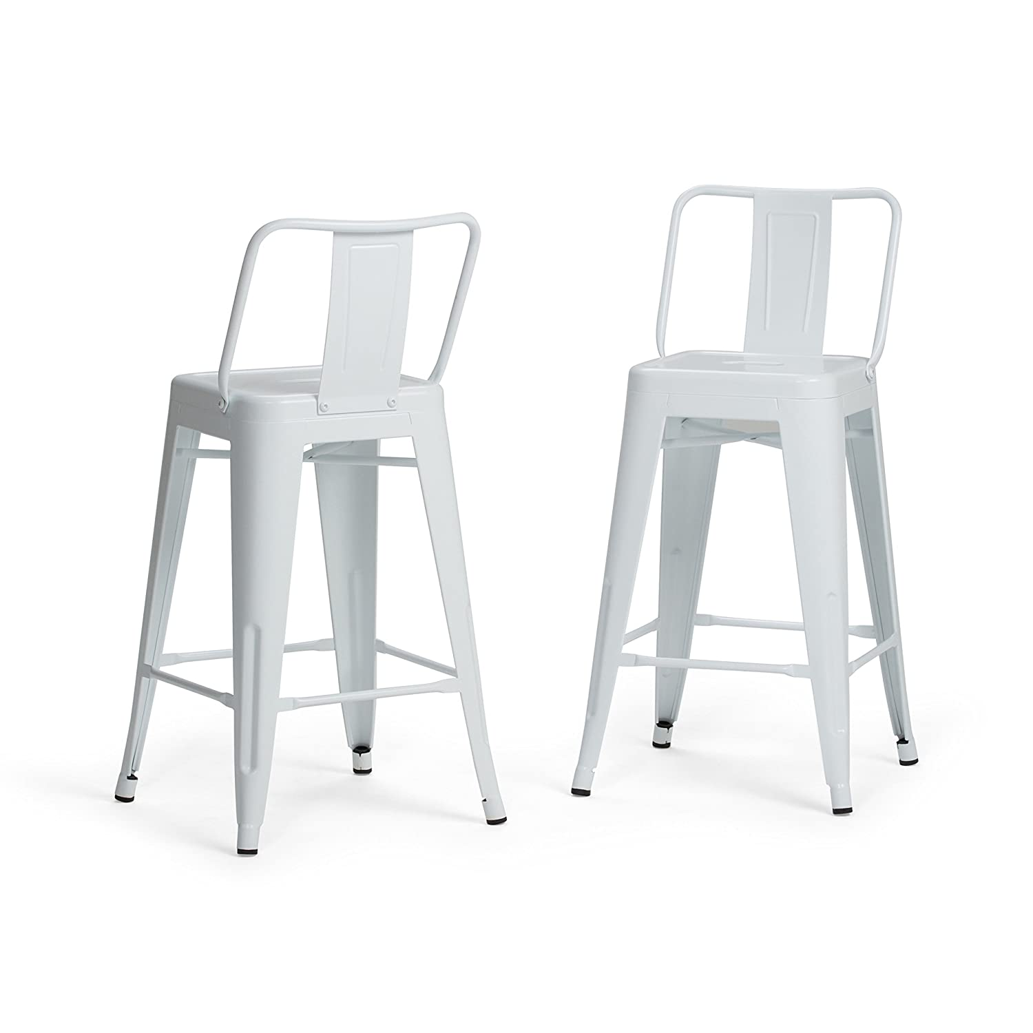 Simpli Home AXCRAY24-01-WH Rayne Industrial Metal 24 inch Counter Height Stool Set of 2 in White