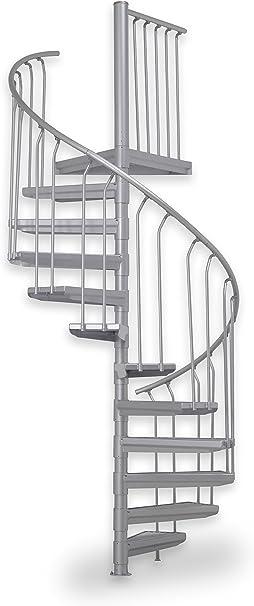 Escalera exterior ST 130, escalera de husillo galvanizada, escaleras de acero, sistema de construcción, 11 peldaños + 1 pedestal, diámetro 130 cm: Amazon.es: Bricolaje y herramientas