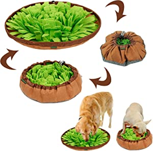 Dog Snuffle Mat Toy Set - Interactive Puzzle Snuffle Mat for Dogs Stress Relief Slow Feeder Dog Bowls Encourages Natural Foraging Skills Dog Food Mat Include Chew Toys and Frisbee
