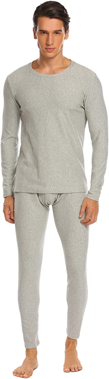 Aimado Men's Soft Thermal Underwear Set Long John Set Fleece Lined Base Layer Top and Bottom