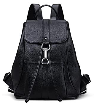 64fe7abe4ee8 New vintage Women Real Genuine Leather Backpack Purse SchoolBag by Coolcy ( Black)