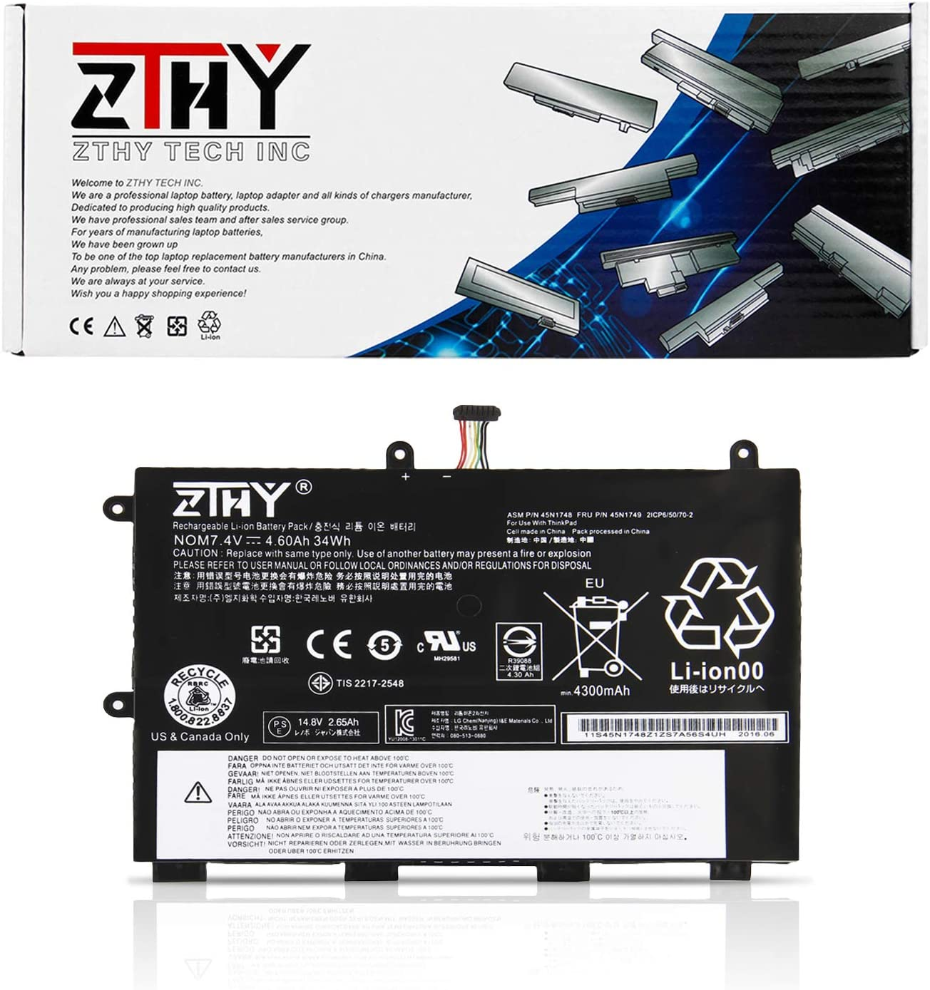 ZTHY 34WH 11E Laptop Battery Replacement for Lenovo ThinkPad Yoga 11e Series Notebook 45N1748 45N1749 45N1750 45N1751 7.4V 4600mAh