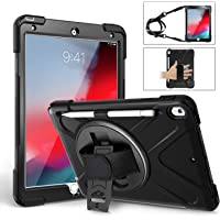 TSQ Heavy Duty Shockproof Durable Hard Rugged Protective Case with Pencil Holder/Hand Strap/Stand/Shoulder Strap for iPad 10.5(Black)